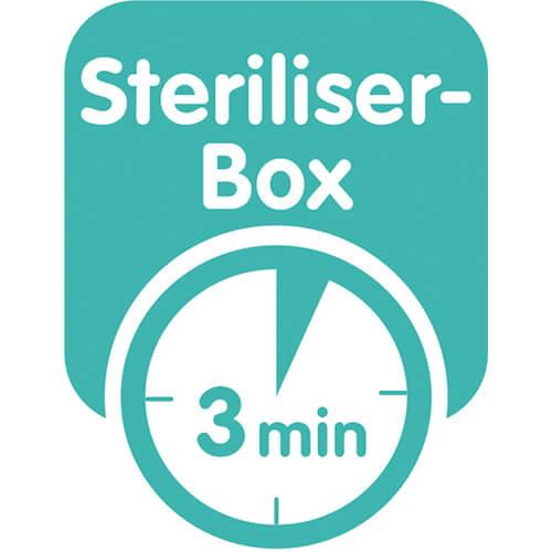 Produkten levereras i en steriliserings- och transportask – så att du snabbt och enkelt kan sterilisera nappen i mikron