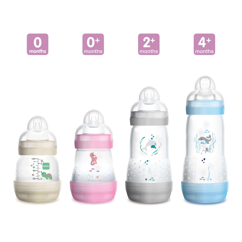 Verschiedene Größen der MAM Easy Start Anti-Colic Babyflasche