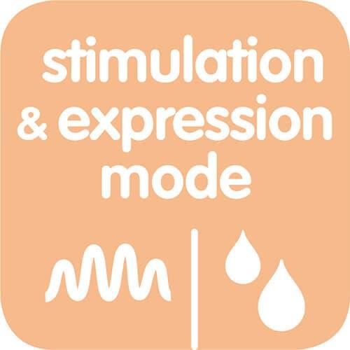 Stimulerings- och pumpningsläget efterliknar bebisens naturliga sugbeteende