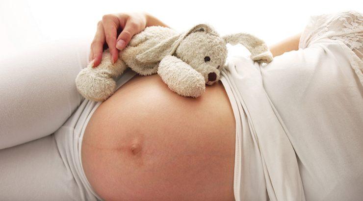 Gravid kvinna med gosedjur på magen